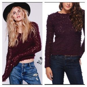 Free People September Song shag sweater plum S